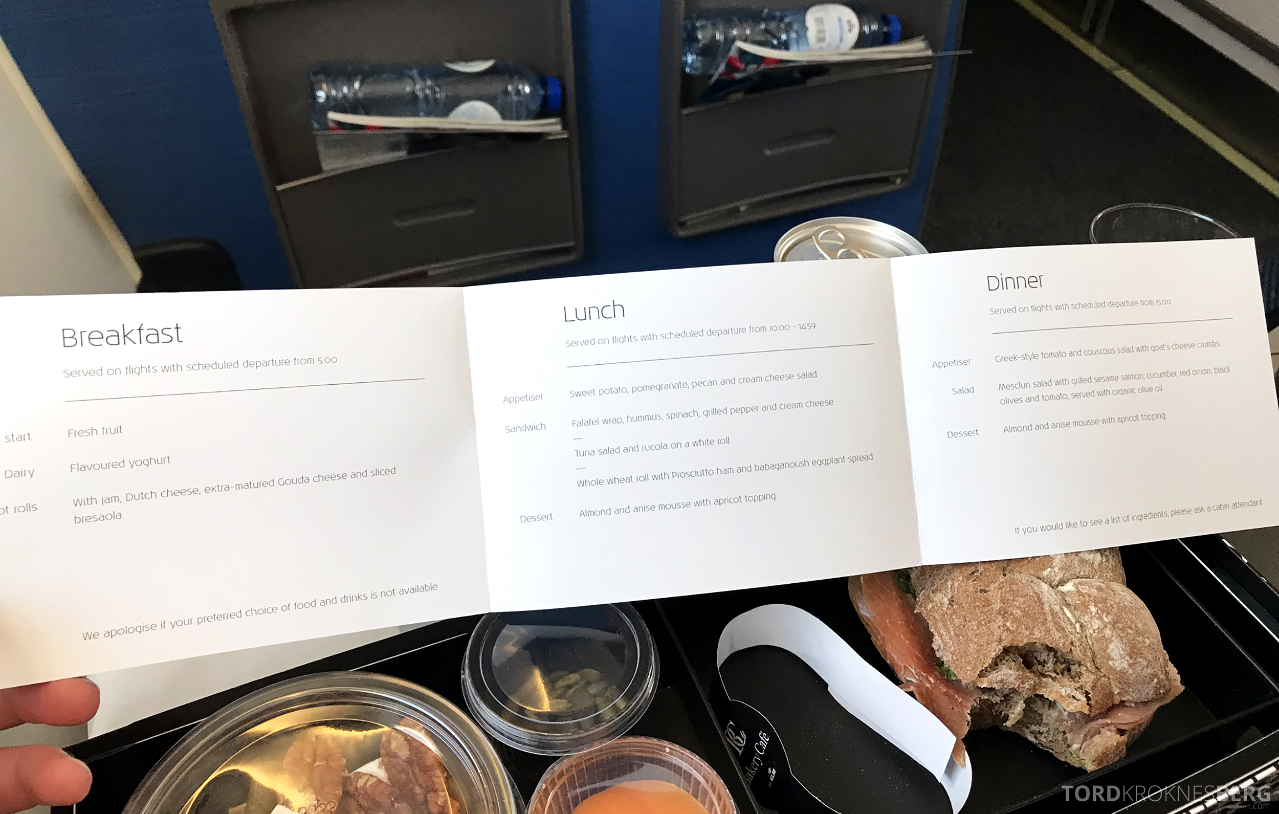 KLM Business Class Amsterdam Trondheim meny