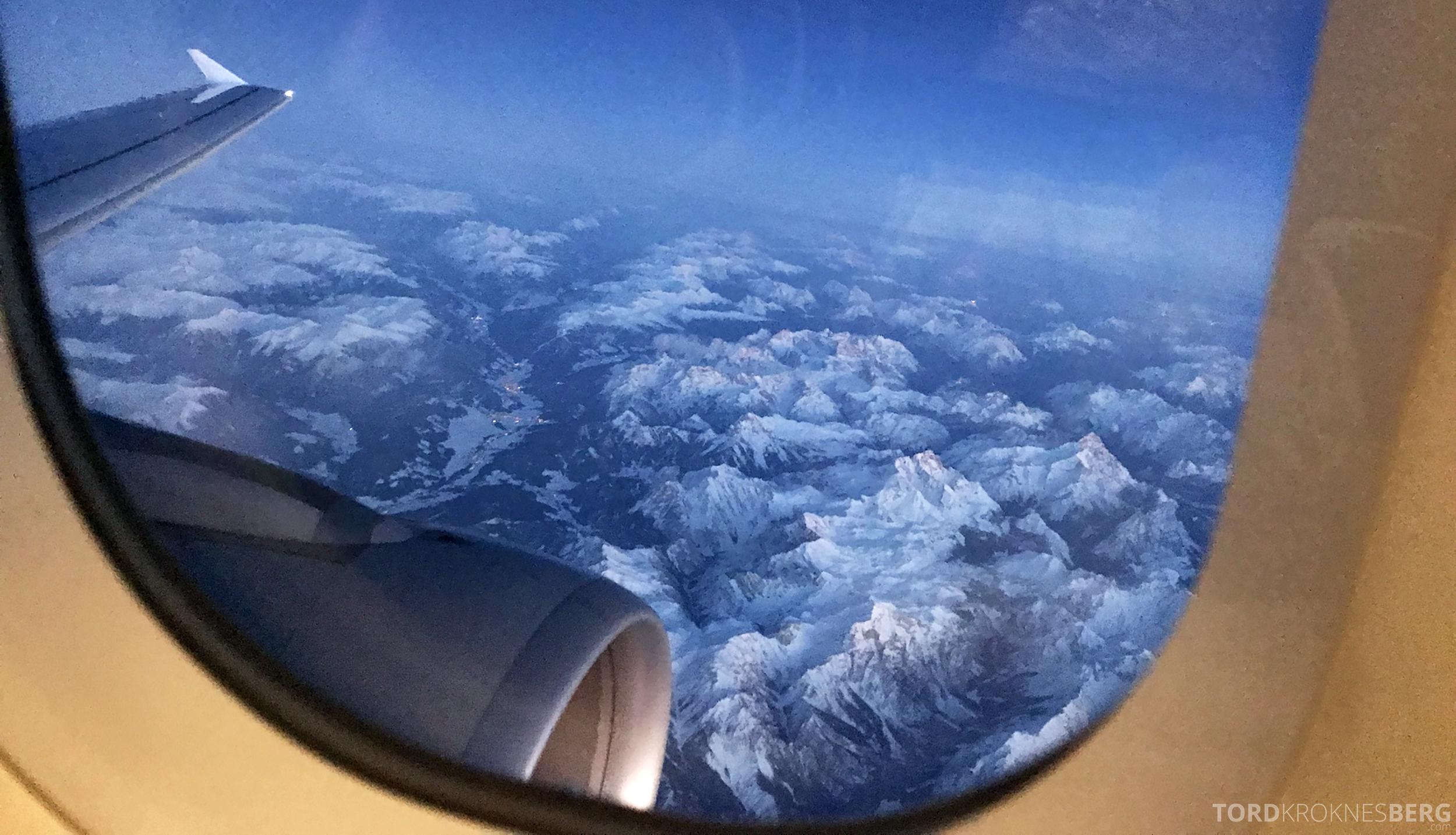 Lufthansa Business Class Oslo Rome utsikt