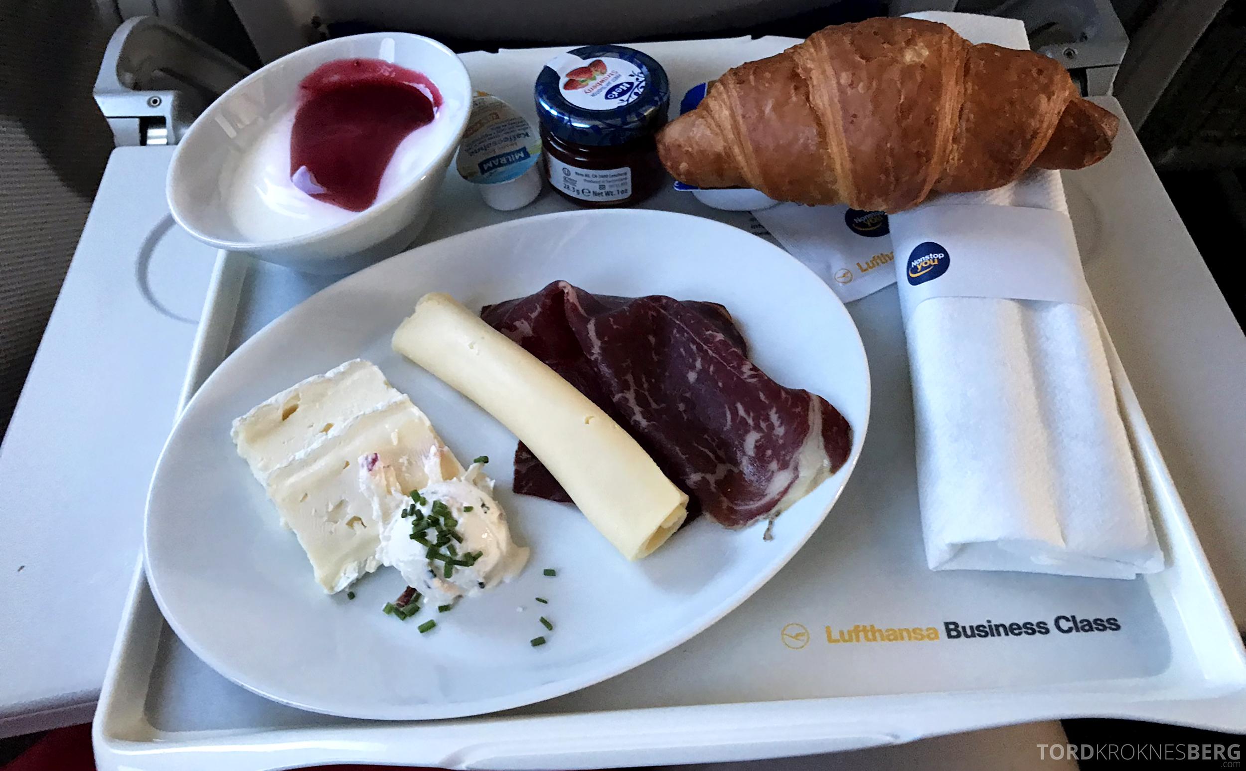 Lufthansa Business Class Rome Frankfurt Oslo frokost