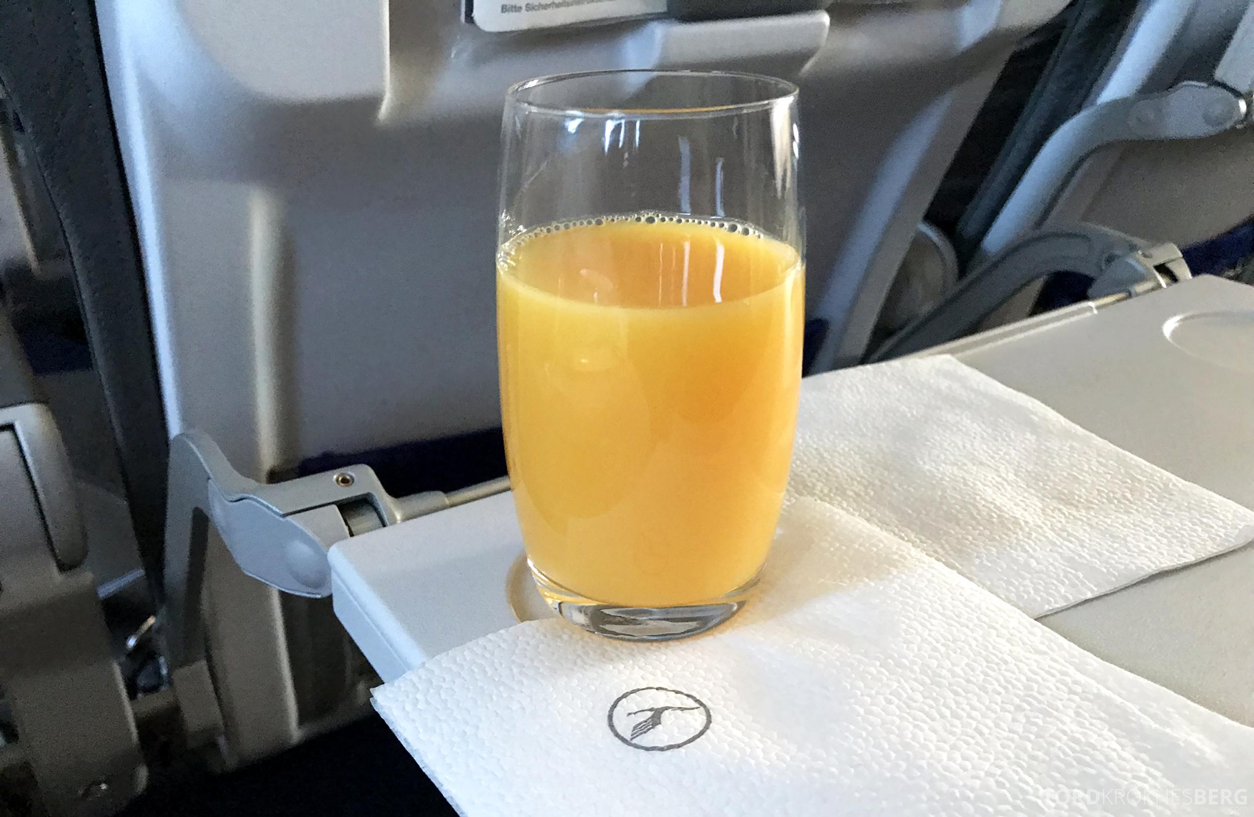 Lufthansa Business Class Rome Frankfurt Oslo juice