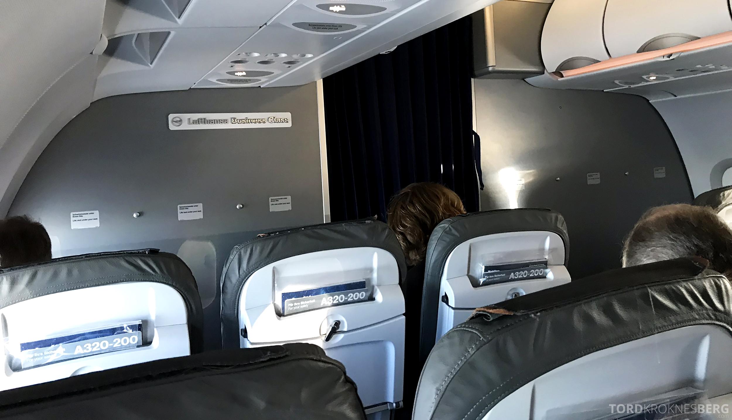 Lufthansa Business Class Rome Frankfurt Oslo kabin