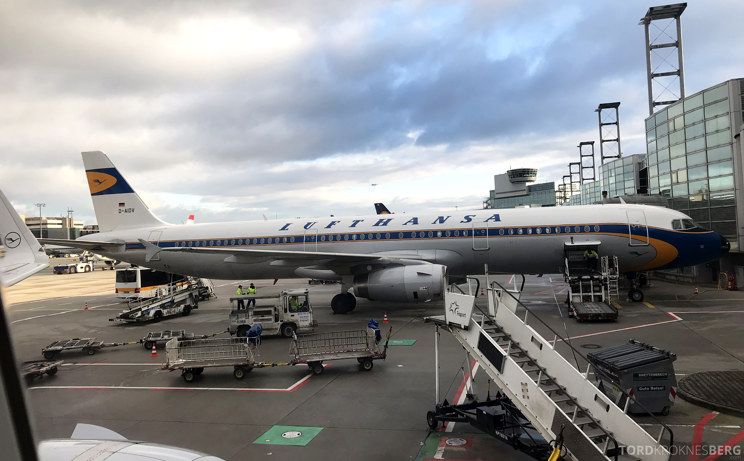 Lufthansa Business Class Rome Frankfurt Oslo retro
