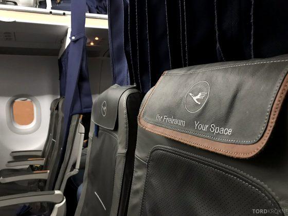 Lufthansa Business Class Rome Frankfurt Oslo blokkert midtsete