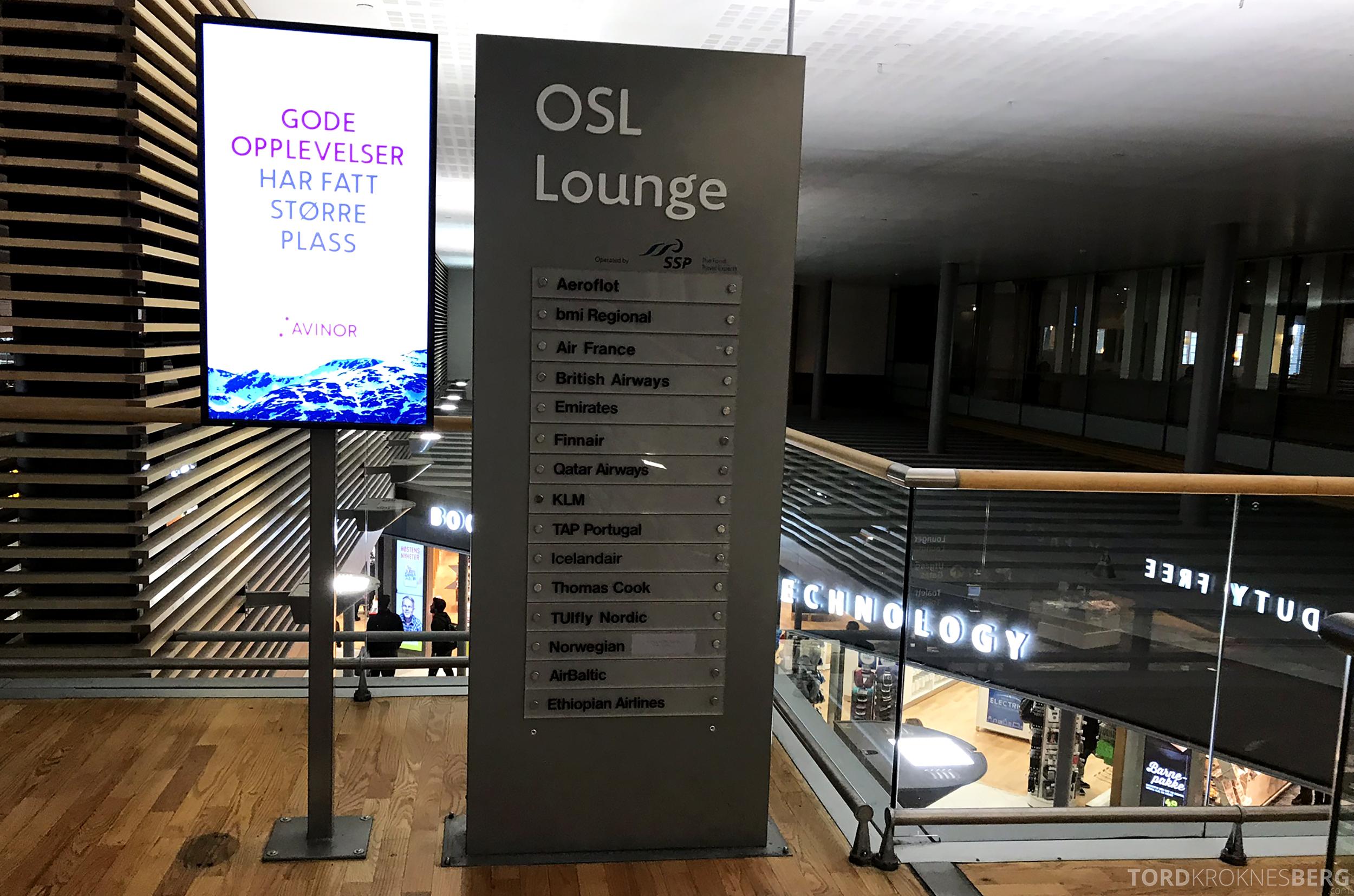 OSL Lounge Gardermoen flyselskaper
