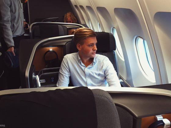 Tord Kroknes Berg i SAS Business Class