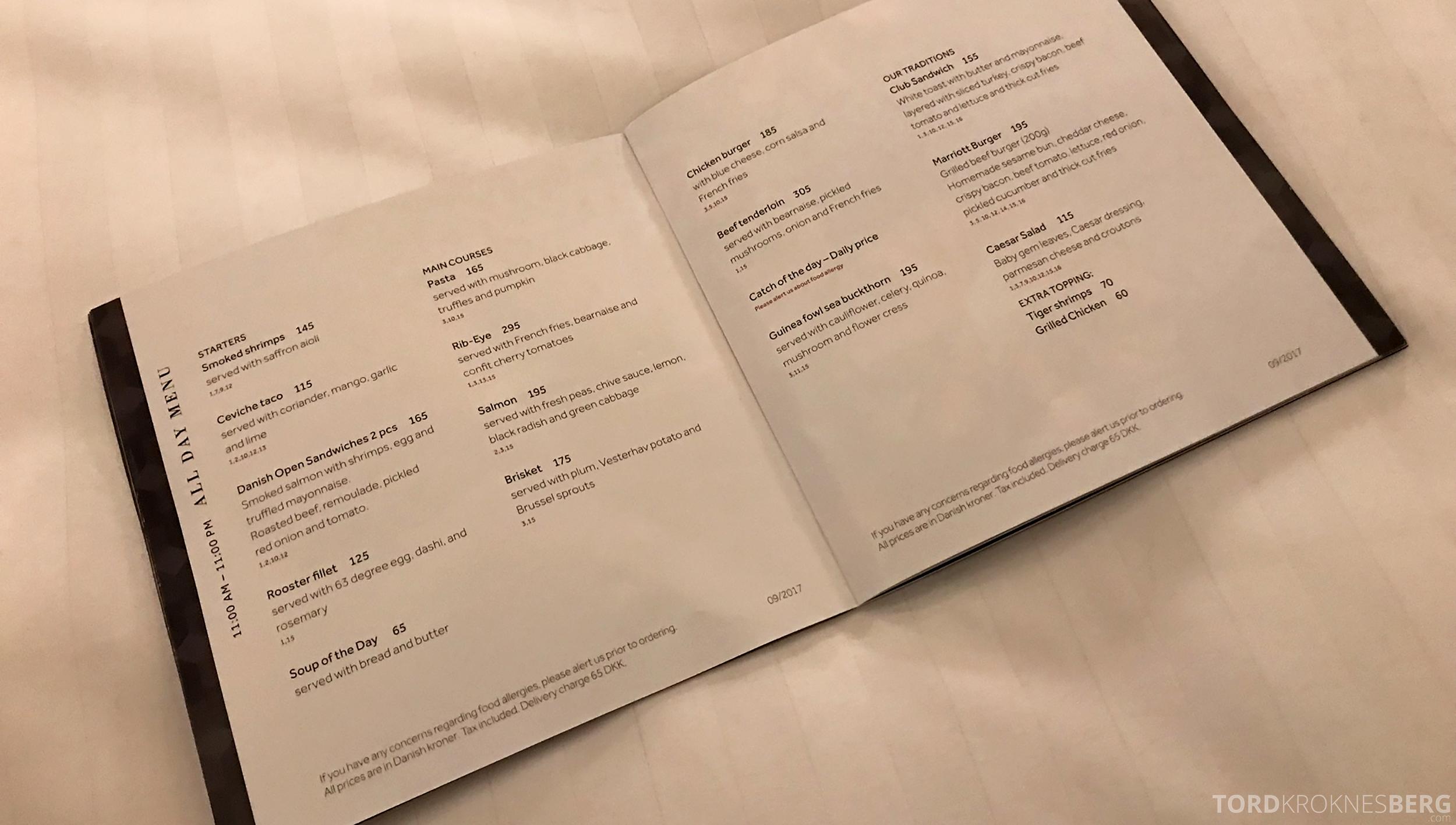 Marriott Copenhagen Hotel room service meny