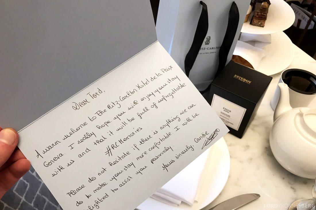 Ritz-Carlton Hotel de la Paix Genève velkomstkort