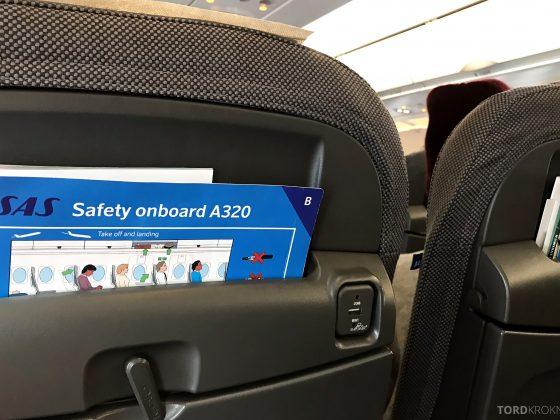 SAS Go A320neo Stockholm Genevé USB strøm