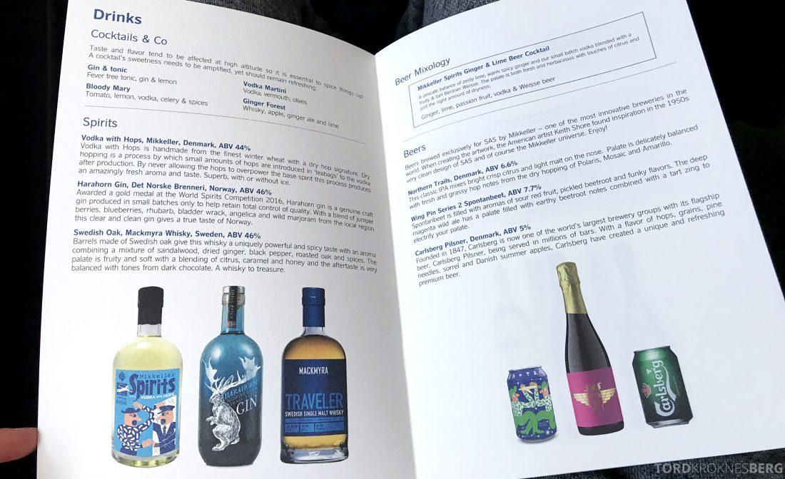 SAS Business Class Oslo Los Angeles meny drikke