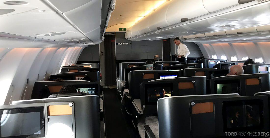 SAS Business Class Oslo Los Angeles kabin servering