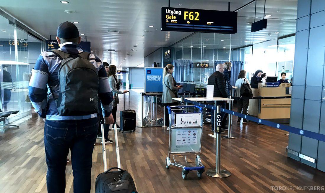 SAS Business Class Oslo Los Angeles gate kontroll