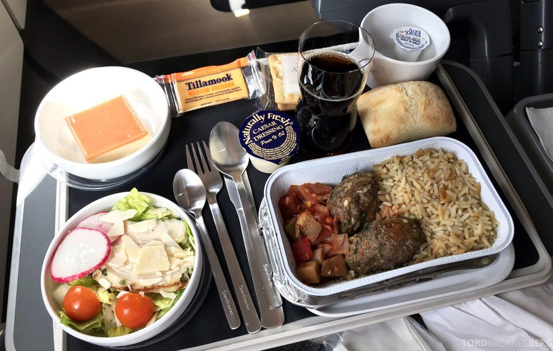 SAS Plus Los Angeles Stockholm måltid