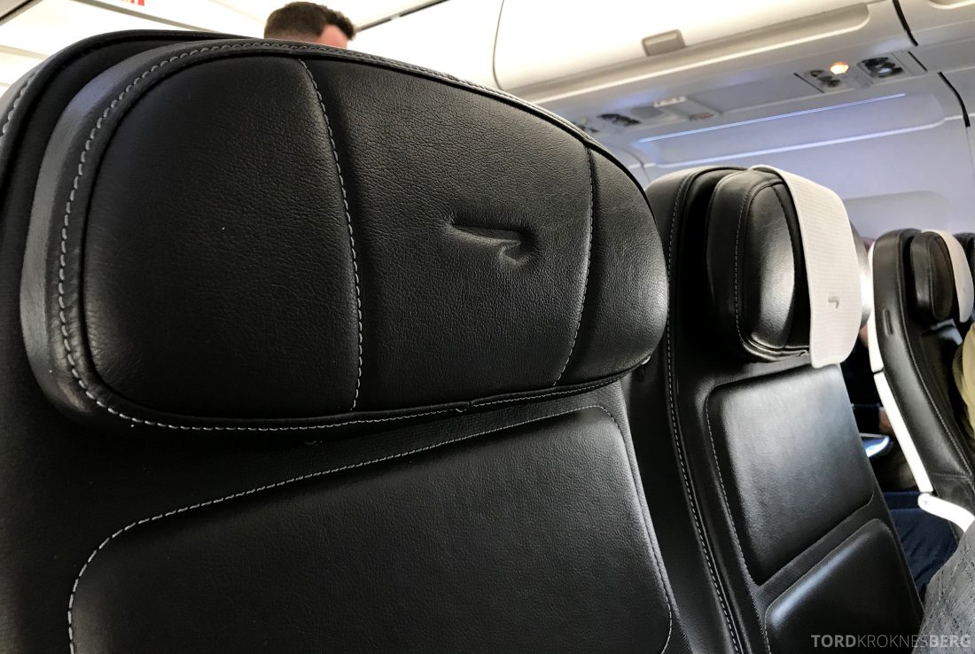 British Airways Business Class Oslo London nærbilde sete