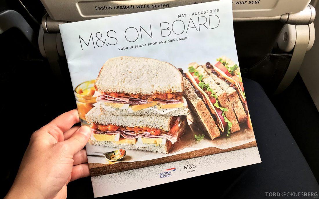 British Airways Business Class Oslo London meny