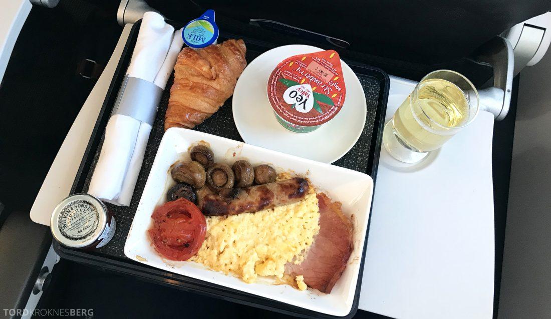 British Airways Business Class Oslo London English Breakfast