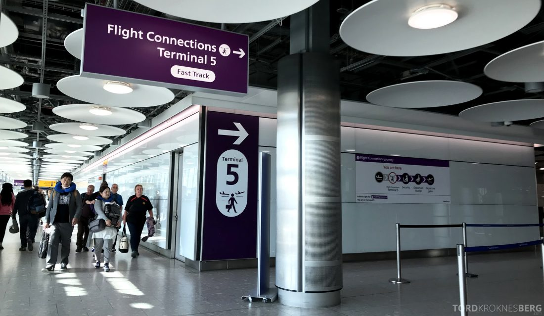 British Airways Business Class Oslo London terminal 5