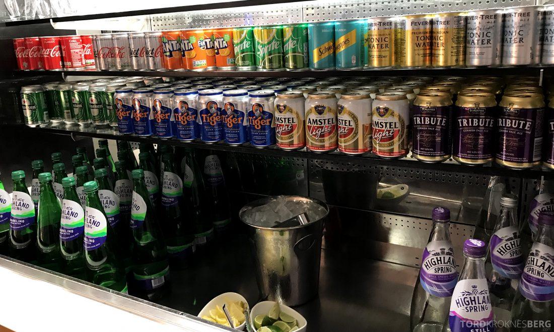 British Airways Galleries First Lounge Heathrow øl og brus