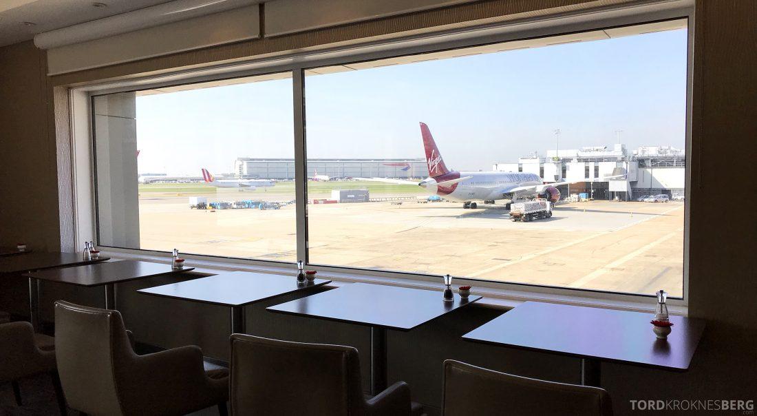 British Airways Galleries First Lounge Heathrow utsikt spiserom