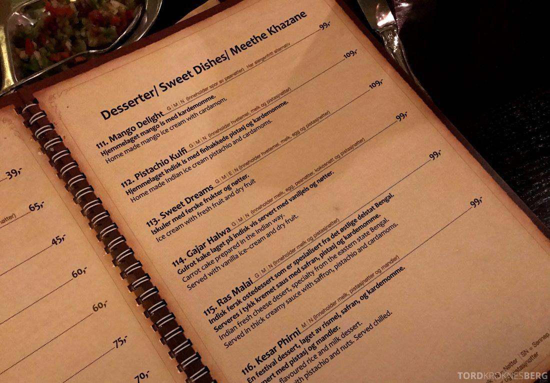 Jewel of India Restaurant Oslo dessertmeny