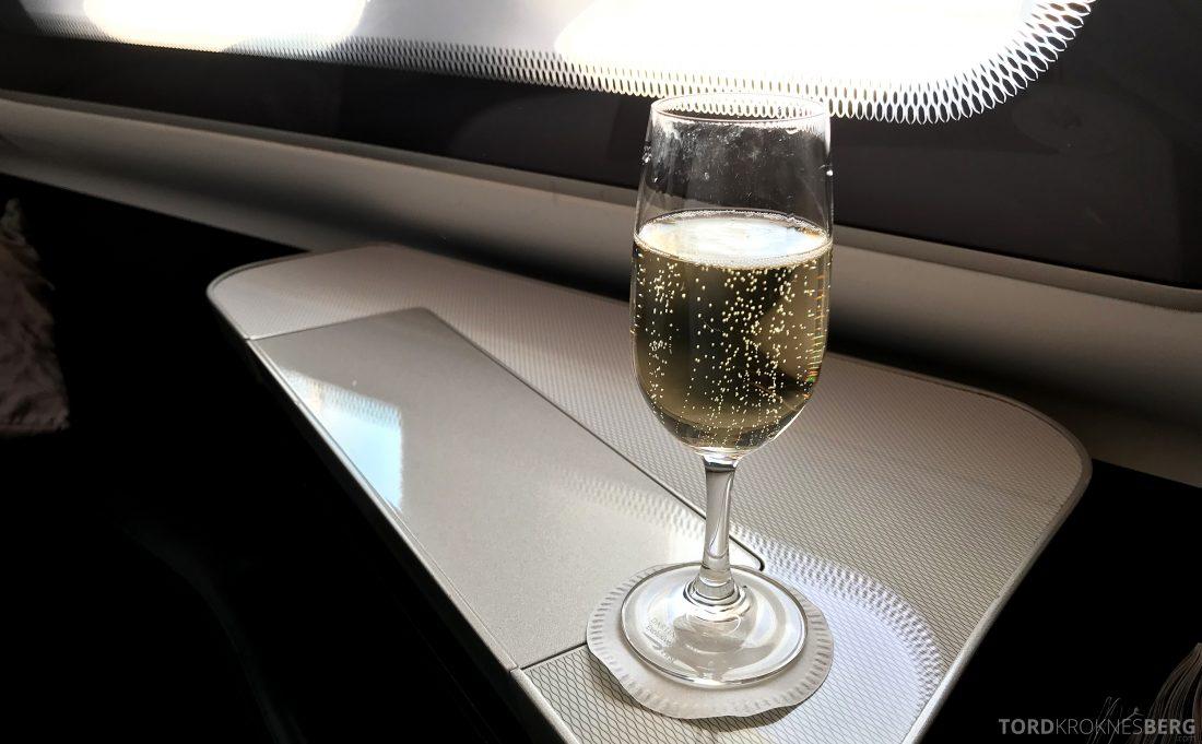 British Airways First Class London Miami champagne