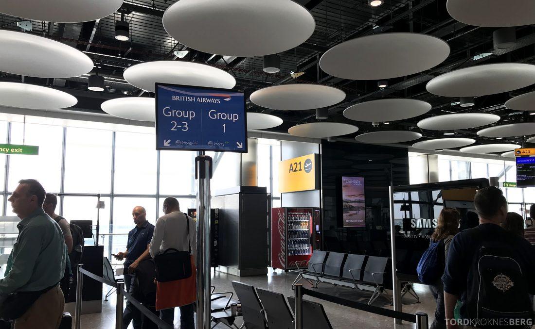 British Airways Business Class London Oslo boarding