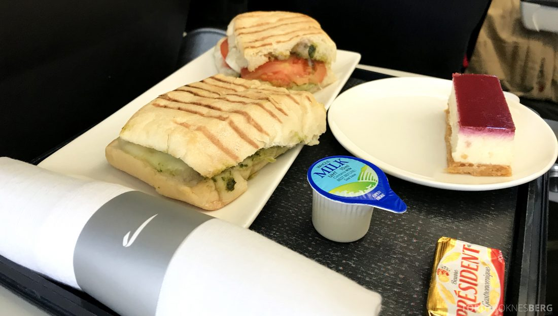 British Airways Business Class London Oslo sandwich