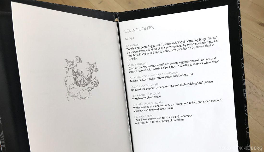 British Airways Concorde Room London lunchmeny