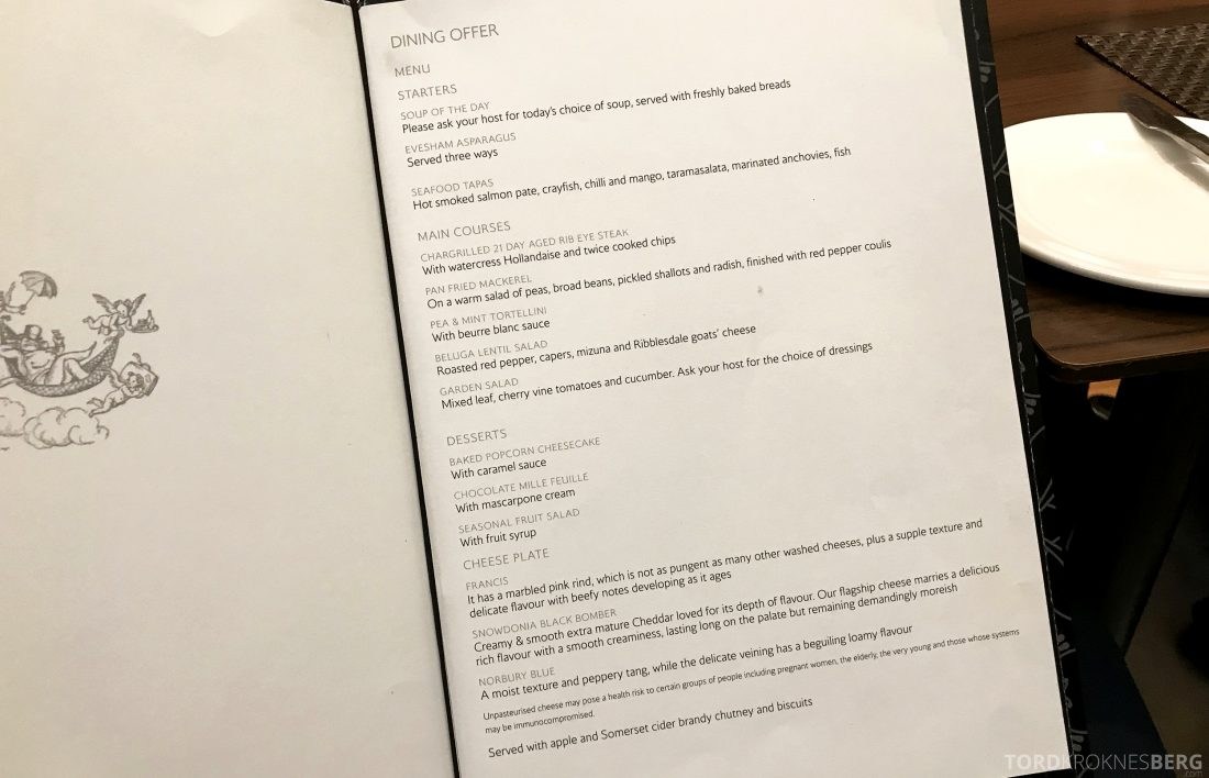 British Airways Concorde Room London dining menu