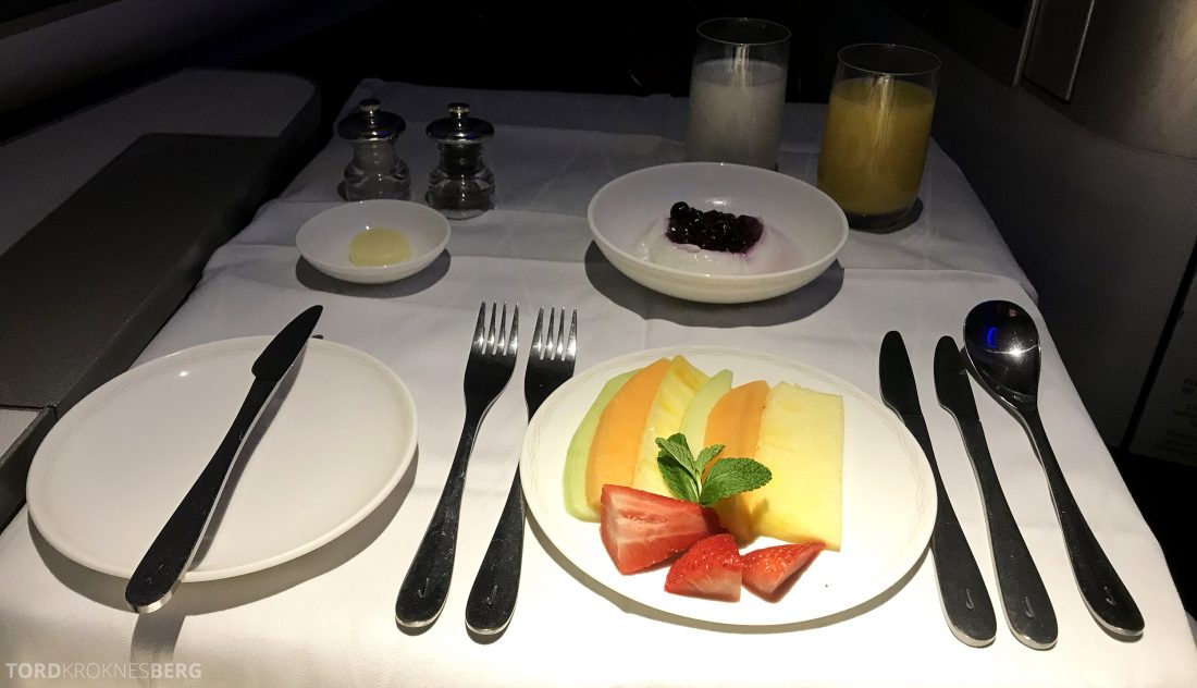British Airways First Class Miami London frokost