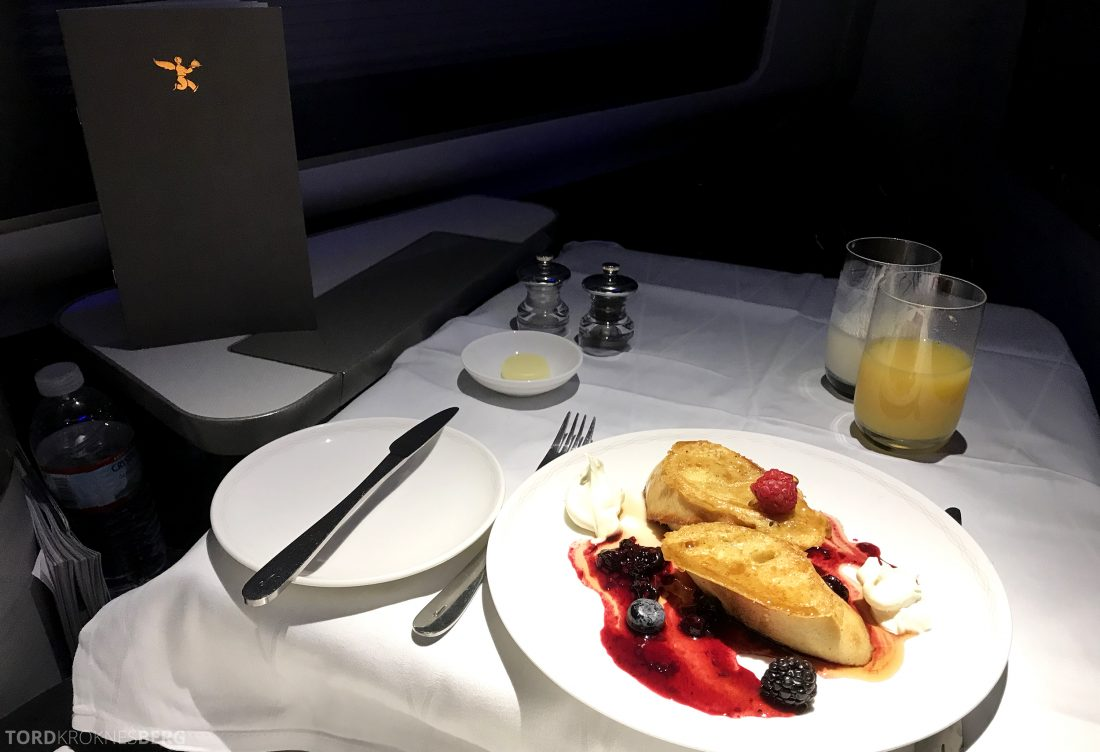 British Airways First Class Miami London frokost french toast