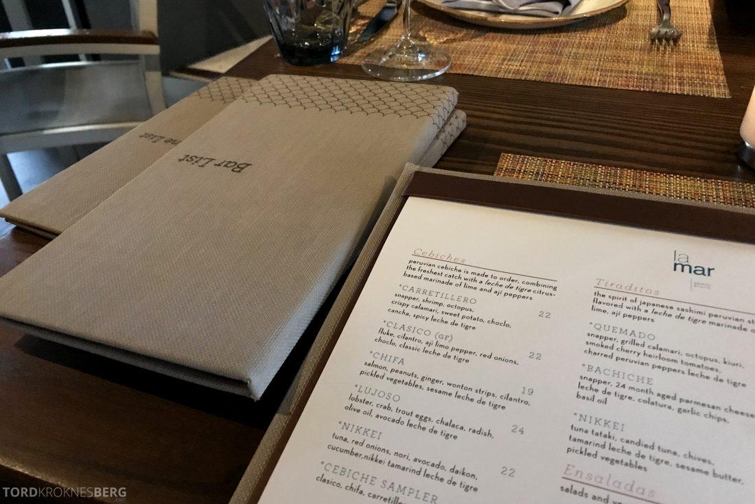 La Mar Restaurant Miami Mandarin Oriental Hotel meny