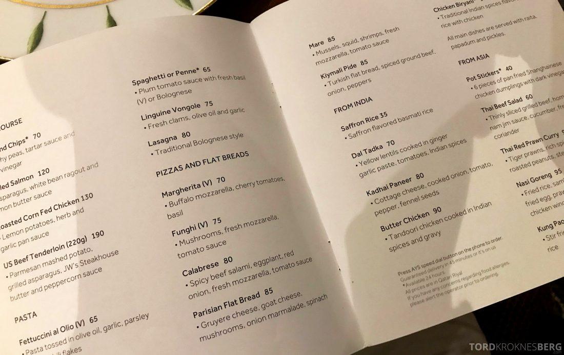 Marriott Doha Hotel room service meny