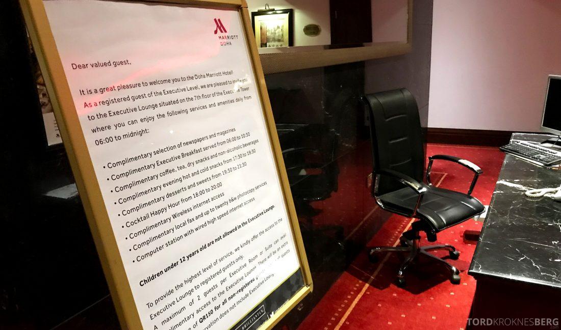 Marriott Doha Hotel Executive Lounge regler