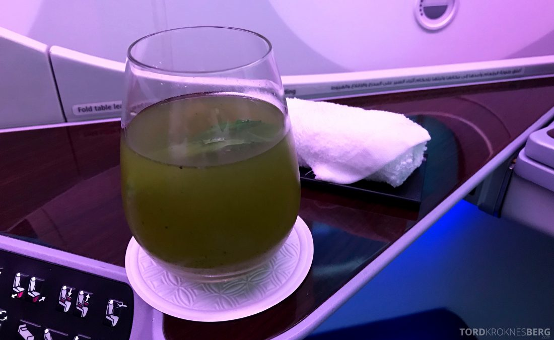 Qatar Airways Business Class Doha Penang limonade
