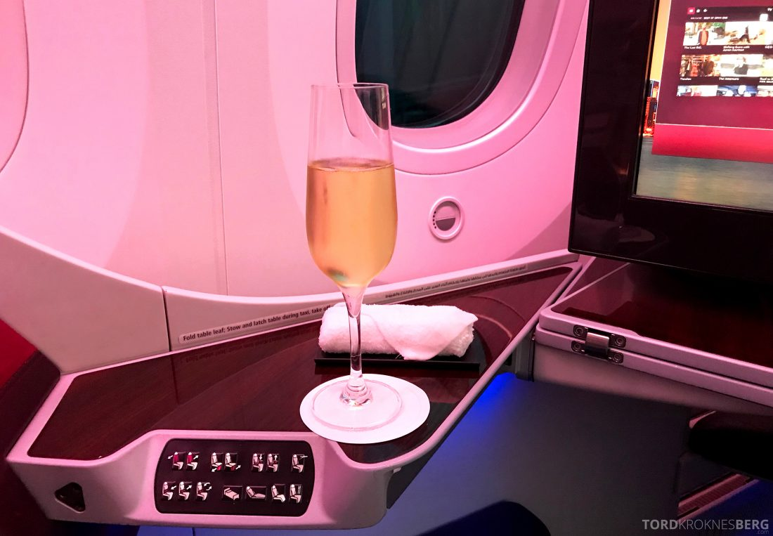 Qatar Airways Business Class Doha Penang velkomstdrink