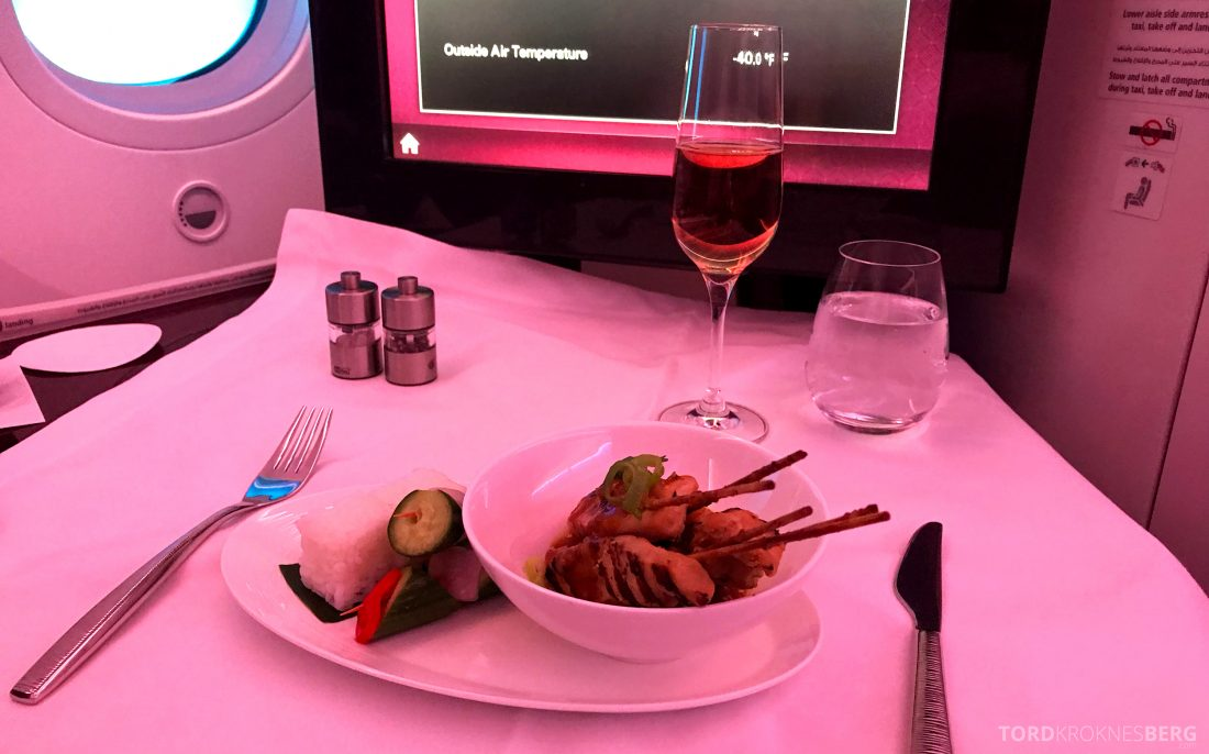 Qatar Airways Business Class Doha Penang chicken satay