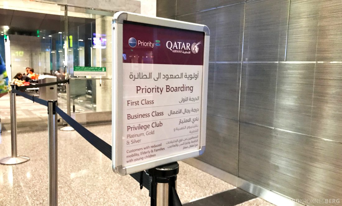 Qatar Airways Business Class Doha Penang priority boarding