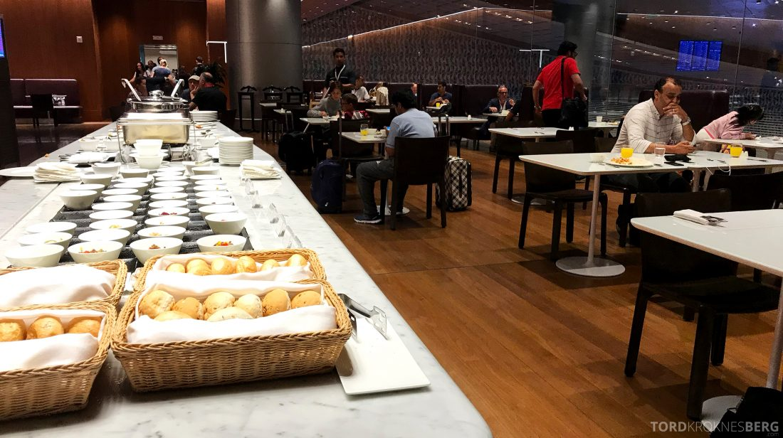 Qatar Airways Al Mourjan Business Class Lounge Doha buffet