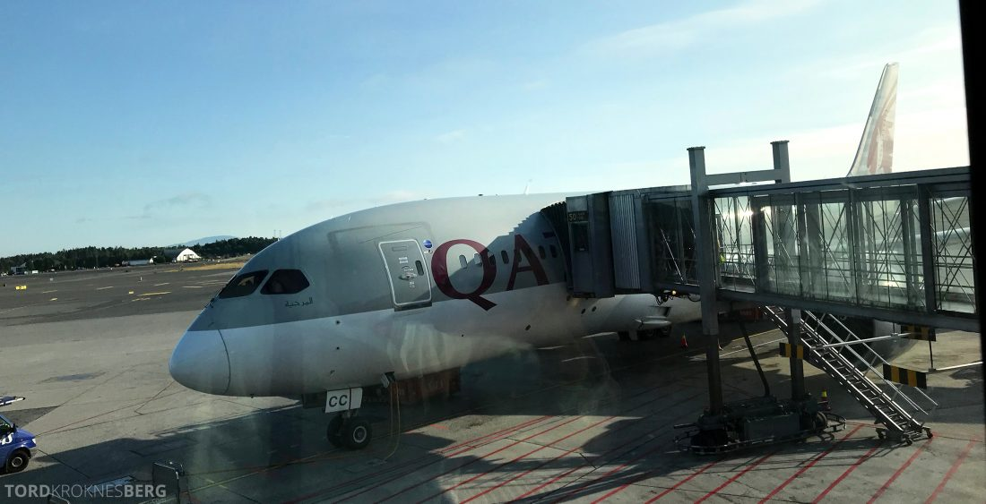 Qatar Airways Business Class Oslo Doha flyvemaskin