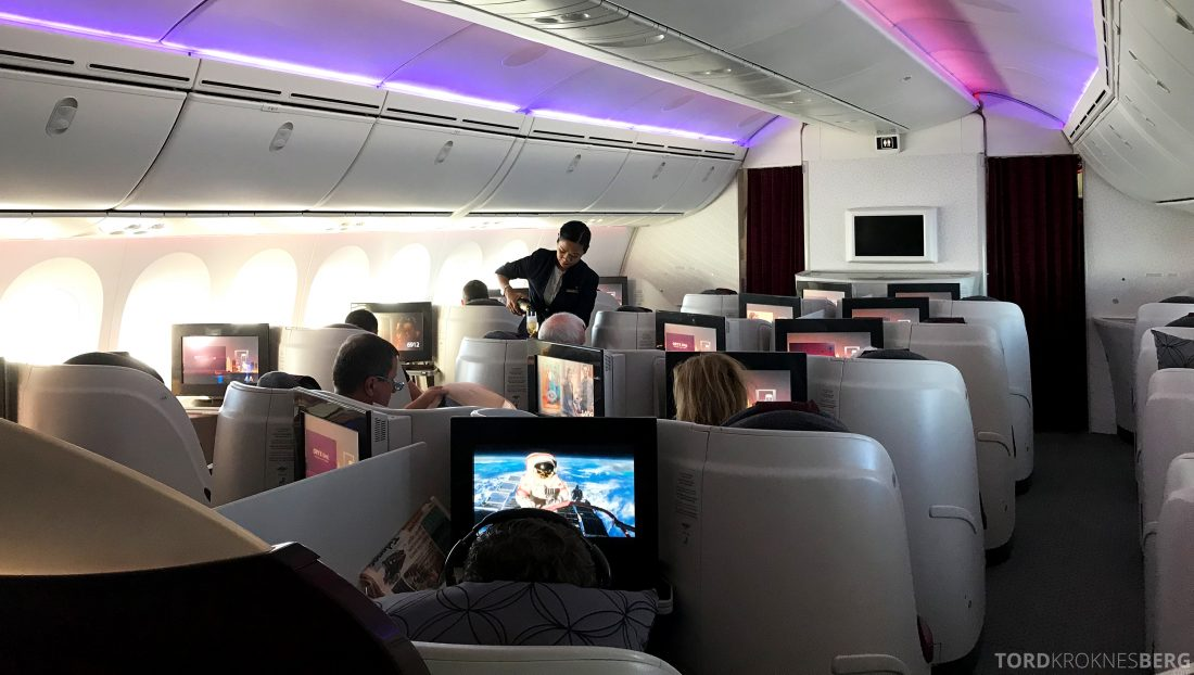Qatar Airways Business Class Oslo Doha kabin