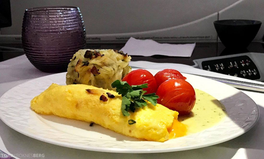 Qatar Airways Business Class Oslo Doha omelett
