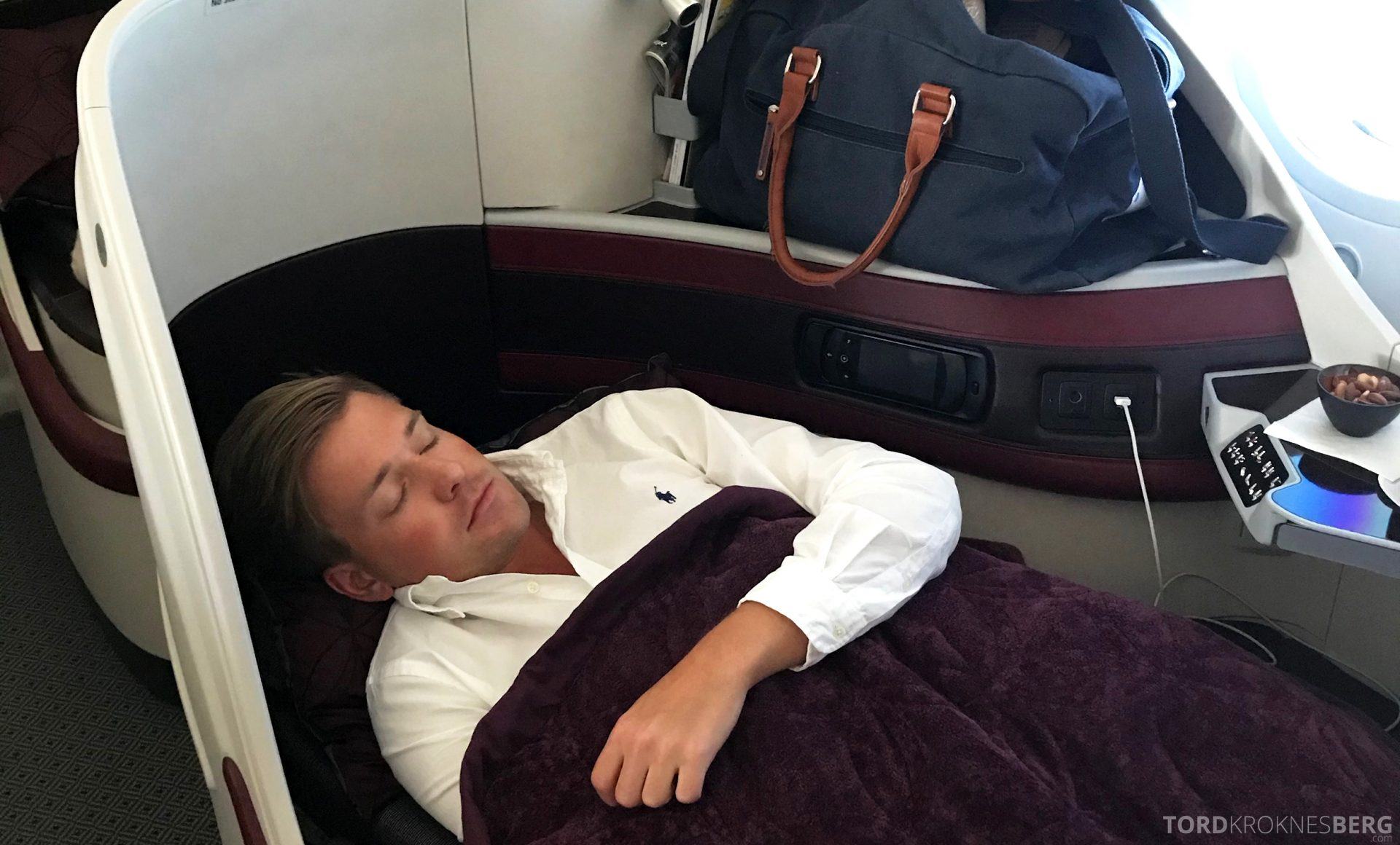 Qatar Airways Business Class Oslo Doha seng Tord Kroknes Berg