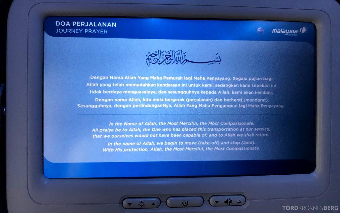 Malaysia Airlines Economy Class Singapore Kuala Lumpur bønn