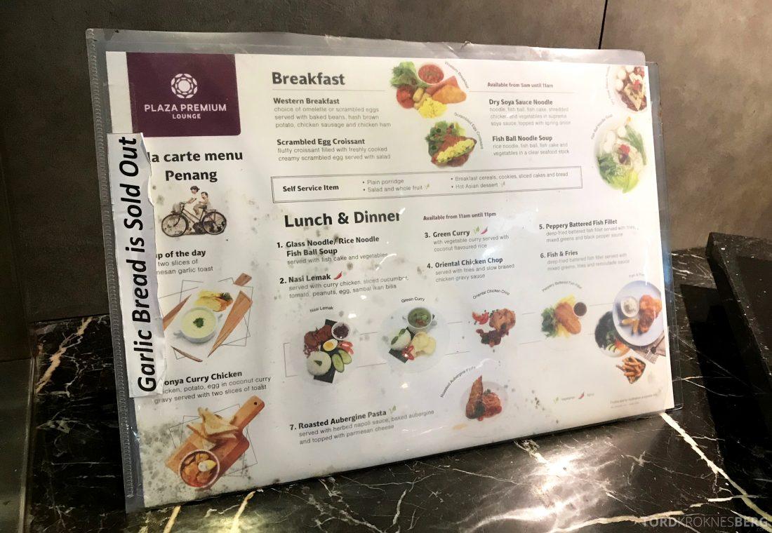 Plaza Premium Lounge Penang meny