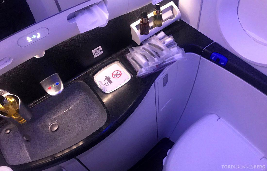 Qatar Airways Business Class Oslo Doha Penang toalett