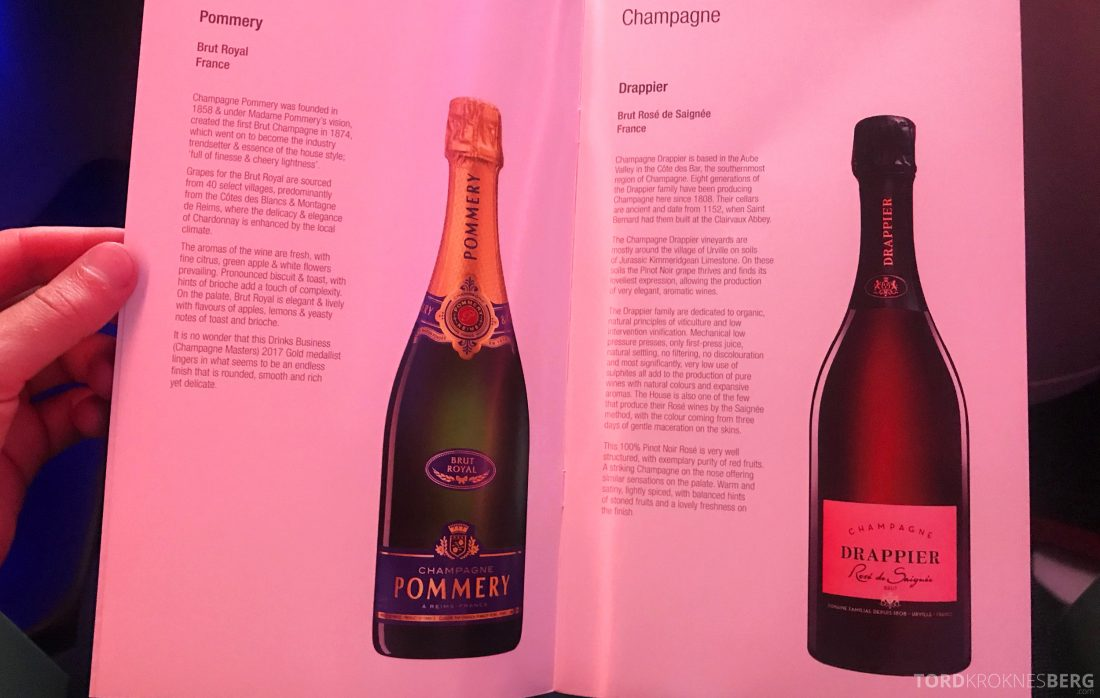 Qatar Airways Business Class Oslo Doha Penang alkohol
