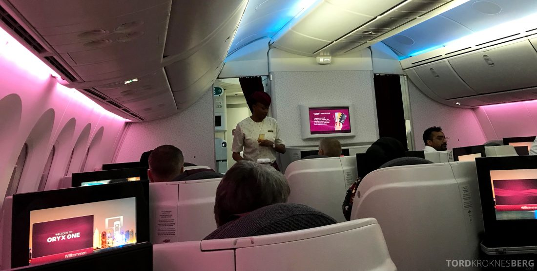 Qatar Airways Business Class Oslo Doha Penang servering velkomst