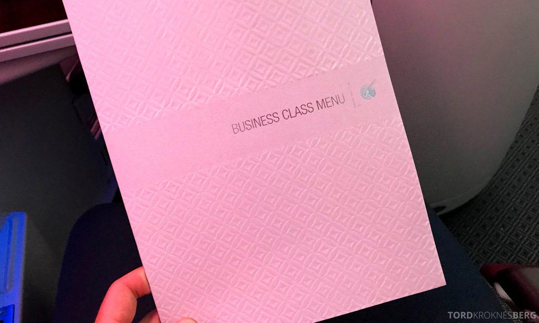 Qatar Airways Business Class Oslo Doha Penang meny