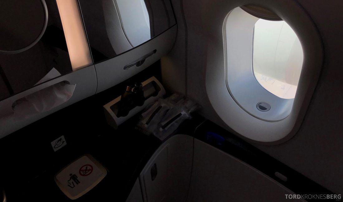 Qatar Airways Business Class Oslo Doha Penang toalett utsikt