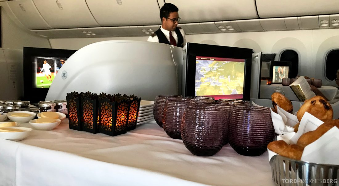 Qatar Airways Business Class Oslo Doha Penang serveringstralle
